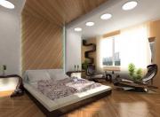 Дизайн ремонта трехкомнатной квартиры. Спальня с мягкой отделкой стен, дизайнерской мебелью и различным освещением - это стильно и красиво.