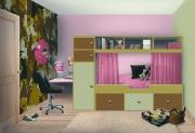 Евроремонт комнаты. Детская комната для девочки и мальчика сочетает военный стиль и воздушность.
