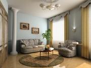 Евроремонт под ключ. Торжественность гостиной придает колонна, стильные шторы и обивка мебели. Все продумано до мелочей.