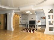 Евроремонт в доме. Сложная конструкция потолка и перегородок позволяет создать в доме фантастический интерьер.