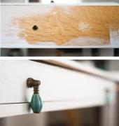 Мелкий ремонт мебели. Покраска передней панели и замена ручки на дверцах ящика.