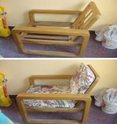 Мелкий ремонт мебели. Дачное кресло до и после изготовления мягкого сиденья.