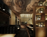 Отделка баров и кафе. Интересная отделка потолка при помощи разноуровневых трубочек, создает эффект рисунка.