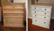 Покрытие мебели. Комод до и после покрытия краской.