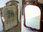 Поменять зеркало. Старинное зеркало после замены зеркального полотна и реставрации рамы.