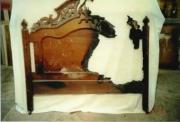 Ремонт антикварной мебели. Спинка антикварной кровати. Пострадала во время пожара.