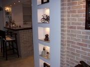 Ремонт квартир САО. Отделка стен на кухне панелями под кирпич.