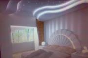 Ремонт квартир в Москве. Потолок и продуманное освещение делает комнату просто сказочной.