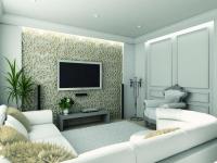 Ремонт квартир в Строгино. Уютная гостиная с оригинальной  резной отделкой стены.