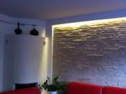 Ремонт квартиры в Тушино. Отделка стены объемной панелью. Встроенная подсветка делает интерьер очень уютным.