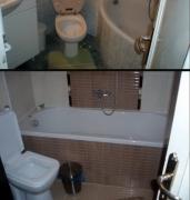 Ремонт малогабаритных квартир. В маленькой ванной можно расширить пространство, путем перестановки сантехники.