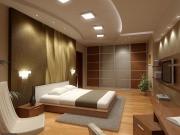 Ремонт под ключ Москва. Евроремонт спальни. Здесь продумано все- отделка стен и потолков, мягкий свет, удобная мебель.