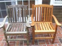 Реставрация дерева. Деревянный стул до и после реставрации.
