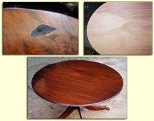 Реставрация деревянного стола. Ликвидация скола деревянного стола.