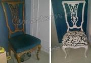 Реставрация мебели Москва. Антикварный стул до и после реставрации.