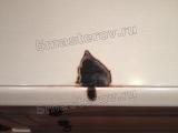Реставрация столешницы. Свечка пожгла отверстие глубиной 1 см и размером 5х5 см. Фото мастера-реставратора Николая Ш.