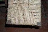 Реставрация стульев. Укрепление сиденья стула специальным веревочным материалом.