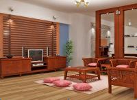 Солнцево парк ремонт квартир. Гостиная с деревянной мебелью и стеклянной перегородкой радует своим уютом.