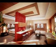 Стоимость ремонта однокомнатной квартиры. Однокомнатная квартира разделена на зоны красивой перегородкой.