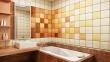 Ванная под ключ, фото. Оригинальное цветовое решение для ванной комнаты - цветовые переходы плитки.